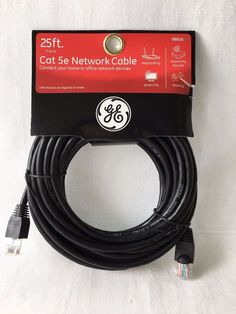 GE 98816 CAT-5E Ethernet Cable 25Ft Black New In Package Computer Gaming Cable #GE