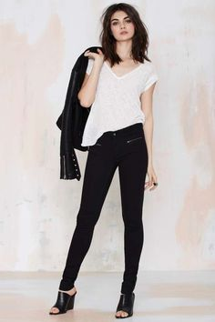 Black Skinny Jeans - Denim with zip closure at front pockets and ankles