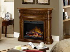 Charleston Electric Fireplace Mantel Package in Burnished Walnut - GDS26L5-1805BW Free Standing Electric Fireplace, Fireplace Mantel Surrounds, Traditional Design, Types Of Wood, Fireplaces, Charleston, Stove, Master Bedroom, Home Appliances