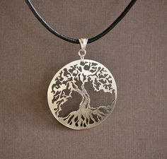 Tree of Life - Hand Cut Sterling Silver Pendant, Greek Leather Necklace, Oxidized