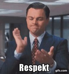 Leonardo DiCaprio: Respekt GIF - Tenor GIF Keyboard - Bring Personality To Your Conversations The Rock Gif, Be Like Bro, Down Syndrome Day, Licence To Kill, Wolf Of Wall Street, Wedding Congratulations, Sean Connery, Beautiful Gif, Harrison Ford