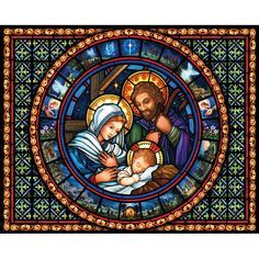 Vermont Christmas Company Holy Family - 1000 Piece Jigsaw Puzzle, Size: 30 x Multicolor Christmas Nativity, Christmas Music, A Christmas Story, Family Christmas, Stained Glass Church, Stained Glass Art, Life Of Christ, Glass Wall Art, Holy Family