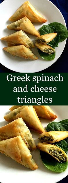 Greek spinach and cheese triangles, or Spanacopita, a popular recipe all over th...