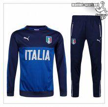 Maillots-Sport: Le Nouveau Vrai Survetement Italie Coton Bleu/Noir 2016 2017
