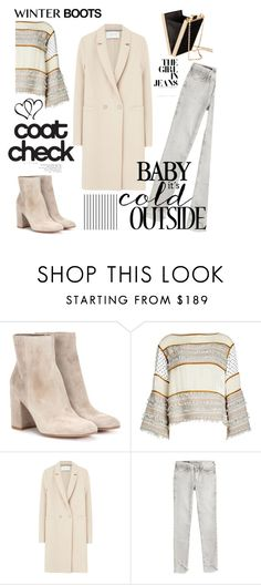 """""""So Cozy: Winter Boots"""" by tessawarongan ❤ liked on Polyvore featuring Gianvito Rossi, See by Chloé, Harris Wharf London, True Religion, H&M, Forum, Winter, kendalljenner, coat and winterboots"""