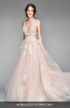 Say 'I do' in this billowy tulle ballgown embroidered with delicate blooms and wrapped at the waist with a pair of velvet ribbons. Style Name:Willowby Galatea Embroidered V-Neck Tulle Wedding Dress. Style Number: Available in stores. Forest Green Bridesmaid Dresses, Girls Bridesmaid Dresses, Wedding Dresses For Girls, Bridal Dresses, Girls Dresses, Colored Wedding Dresses, Peach Wedding Dresses, Affordable Wedding Dresses, Women's Dresses