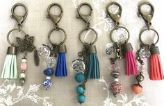 Beaded bronze keychain with suede tassel/ purse charm. Different colors.