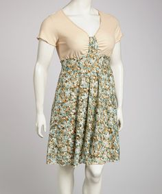 Take a look at this Cream & Blue Floral Dress - Plus by Buy in America on #zulily today!
