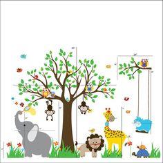 Jungle theme nursery removable vinyl wall stickers. Set includes Tree:1 Branch:1 Giraffe:1 Lion:1 Birds:8 Elephant:1 Owls:4 Butterflies:3 Monkeys:2 Hippo:1 Turtles:2 Swing:2 Flowers:8 Grass:4 Monogram:1 ==============================================...