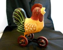 SALE-PRICE CUTS! Rooster Folk Art, Hand-carved Tri-cycle Rooster, Wooden Wheels, Rooster on Wheels, Animal Art, Farm Animal, Animal tricycle
