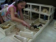 Homemade Toy Barns | Wood Wooden Toy Amish Horse Stockyard Stable Barn Farm Toy at www ...
