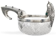 A silver and glass kovsh, 14th Artel, Moscow, 1908-1917   lot   Sotheby's