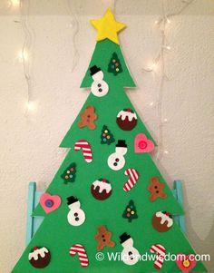 DIY felt Christmas tree activity with velcro ornaments!