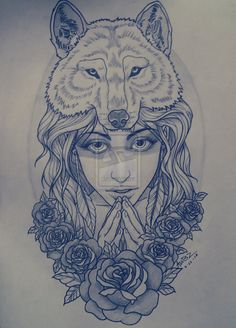wolf girl tattoo with many roses