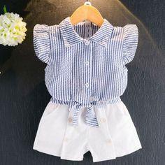 2PCS Bebé Niño Niños Niñas Camisa Prendas para el torso + Shorts Pantalones conjunto Ropa exterior Atuendo de Ropa de Verano
