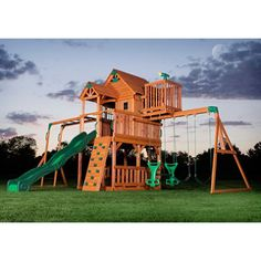 skyfort ii cedar swing set play set with slide and free shipping