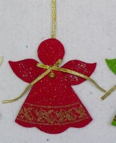Glittered anjo ornamento sentiu ornamento em Natal de Home & Garden no AliExpress.com | Alibaba Group Homemade Christmas Gifts, Christmas Cards To Make, Christmas Crafts For Kids, Xmas Crafts, Easter Crafts, Felt Crafts, Christmas Angel Decorations, Felt Christmas Ornaments, Angel Ornaments