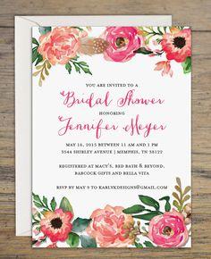 Printable Rustic Bridal Shower Invitation - Digital Bridal Shower Invite - Floral Wedding Shower Invitations - 5x7