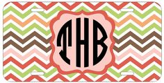 Personalized Monogrammed Chevron Coral Green License Plate Custom Car Tag L375