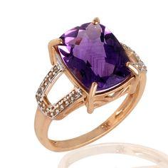 Amethyst, Diamond Gold Ring Jewelry