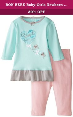c4af79d54 BON BEBE Baby-Girls Newborn Love and Bows 2 Piece Dress Set, Multi, Months  100 percent cotton long sleeve top with heart balloon applique and small  decorati