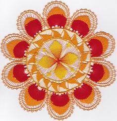 Nanduti naaldkant geel oranje 21 cm. / Nanduti needle