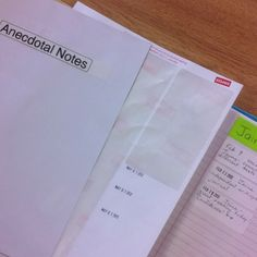 Easy anecdotal-note taking-use a clipboard and a page of address labels, stamp with a date stamper and write notes on individual children on the labels. When you have filled a page, stick the labels to a paper with the child's name on it, filed in alphabetical order in a binder. Very handy!