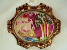 Sailing Ship with Palm Trees Brooch