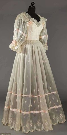Wedding dress, silk, Emmanuelle label, British, 1980s