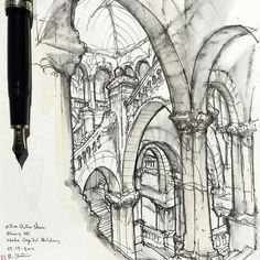 Really cool #architecture #sketch by Rob Petrie (@robpetriedesignarts) which…