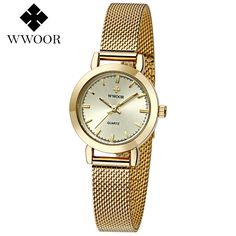 Cheap feminino, Buy Quality feminino relogio directly from China feminino casual Suppliers: WWOOR Women Watches Top Brand Luxury Stainless Steel Mesh Band Gold casual Watch Ladies Business quartz watch Relogio Feminino Stainless Steel Mesh, Stainless Steel Bracelet, Women's Dress Watches, Women's Watches, Wrist Watches, Mesh Band, Casual Watches, Watch Brands, Gold Bands