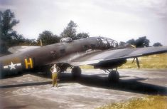 A captured German late model Heinkel He 111H bomber of the U.S. Air Force 56th Fighter Group at Boxted Airfield, England.