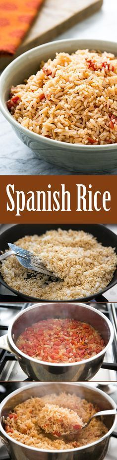 Spanish rice (Mexican rice) is so easy to make! This is my mother's signature recipe, perfect with steak, chicken, and Mexican food like tacos or enchiladas. On SimplyRecipes.com