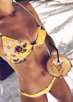 Only $23.00 for this Golden Beach Flower Bikini Set!