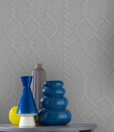 Wallpaper of the week: grey knitted wall by Graham & Brown Wallpaper Stickers, Wall Wallpaper, Handmade Wallpaper, Graham Brown, Lava Lamp, Scandinavian, Table Lamp, Display, Cool Stuff