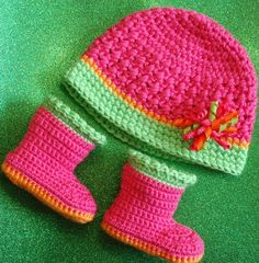 Crochet Beanie and Boots Set-Rainbow Sorbet 6-9 Months    These colors ROCK! :)