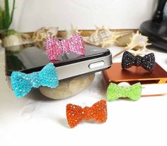 5 Colors Cute Sparkly Crystal Bowknot Dust Plug by Polaris798