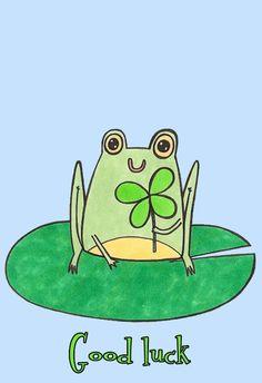 Good Luck Frog - Good Luck Card #greetingcards #printable #diy #goodluck Goodbye And Good Luck, Good Luck Quotes, Good Luck Cards, Cute Frogs, American Greetings, Unique Cards, Printable Cards, Free Printable, Card Maker