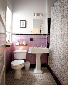 nice 45 Shabby Chic Blue Shower Tile Design Ideas For Your Bathroom Pink Bathroom Tiles, Purple Bathrooms, Vintage Bathrooms, Bathroom Colors, Bathroom Flooring, Modern Bathroom, Bathroom Ideas, Hall Bathroom, Lavender Bathroom
