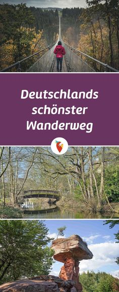 Wanderurlaub in Deutschland erleben There are many great hiking trails in Germany and at the beginning of 2017 eight different routes were tested. A hiking trail has won and we can already reveal that Europe Destinations, Holiday Destinations, Cool Pictures, Beautiful Pictures, Colorado Hiking, Suspension Bridge, Ice Climbing, Backpacking Europe, Germany Travel