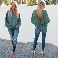Fashion Women Personality O Neck Backless Tops Long Sleeve Casual Loose Blouse Tee Fashion Night, Urban Fashion, Winter Fashion, Cool Outfits, Fashion Outfits, Womens Fashion, Fashion Hacks, Fashion Ideas, Moda Zara