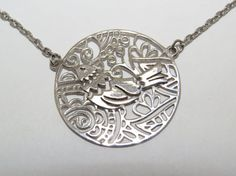 Sterling silver bird Necklace Sparrow necklace by VorobjewStudio
