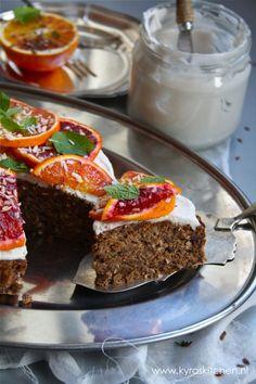 "recipe: pecan date cake with coconut whipped cream, bloodorange & mint. ""bloody great!"" ;)) over on kyraskitchen foodblog: http://kyradevreeze.nl/recipe-pecan-date"