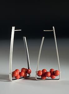 Silver and red earrings, Ayala Naphtali