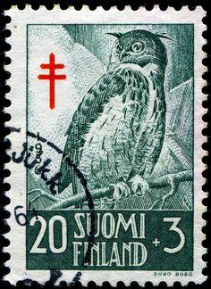 Owl postage stamp, Finland