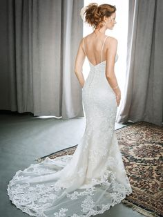 Kenneth Winston Style 1698 | all-over lace wedding dress with spaghetti straps and low back | luxurious bridal gown