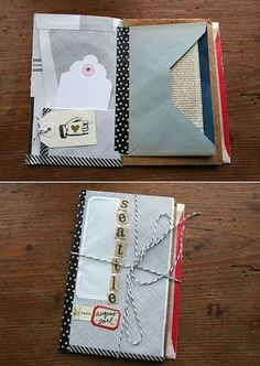 Create a journal pieced together with vintage envelopes. The envelopes are not only pretty, but also make easy storage for your souvenirs. Source: besottment