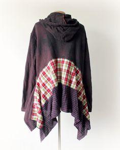 Boho Hoodie Recycled Clothing Tattered by BrokenGhostClothing