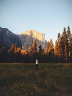 A view of Yosemite from a field.