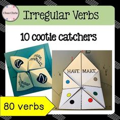 There's nothing like playing while revising ! Cootie CatchersThis file contains 10 cootie catchers: that's 80 different verbs! They are ready to print and fold. How to make a cootie catcher instructions included.Have fun !!NEW: Video: how to make a cootie catcher !